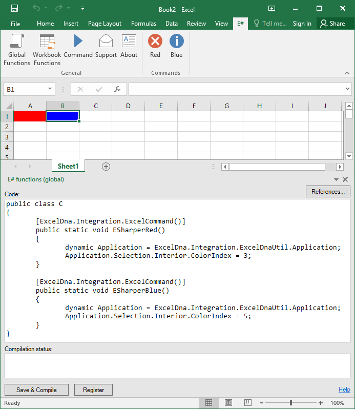 ESharper add-in - Write Excel functions, formulas and