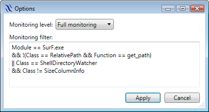 Monitoring filter options