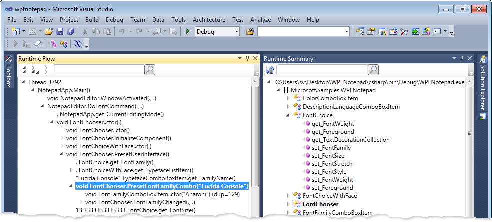 Runtime Flow integrated with Visual Studio 2010.