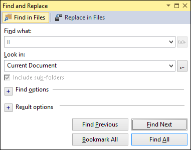 Find and Replace dialog in Visual Studio 2013